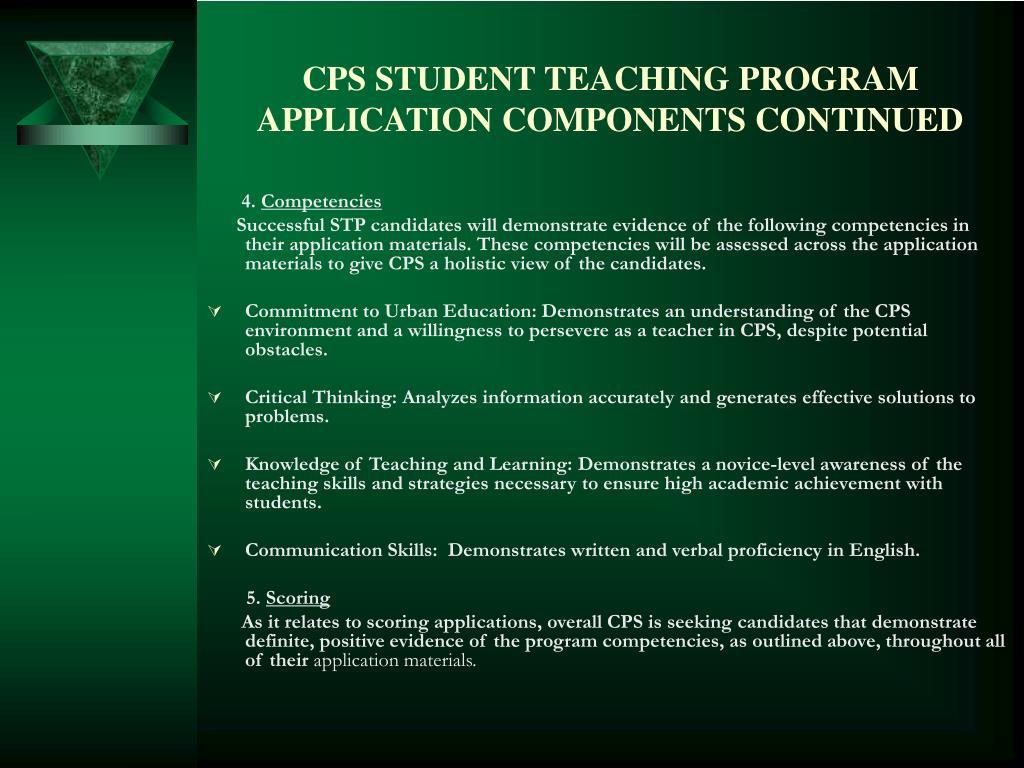 CPS STUDENT TEACHING PROGRAM