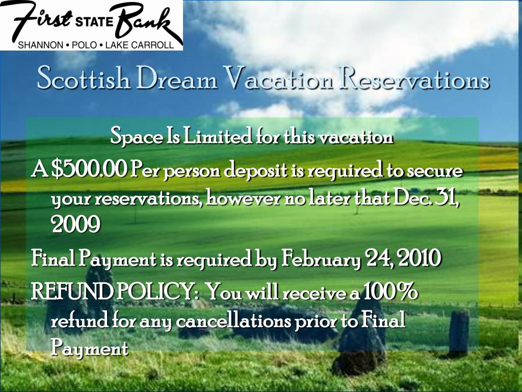 Scottish Dream Vacation Reservations