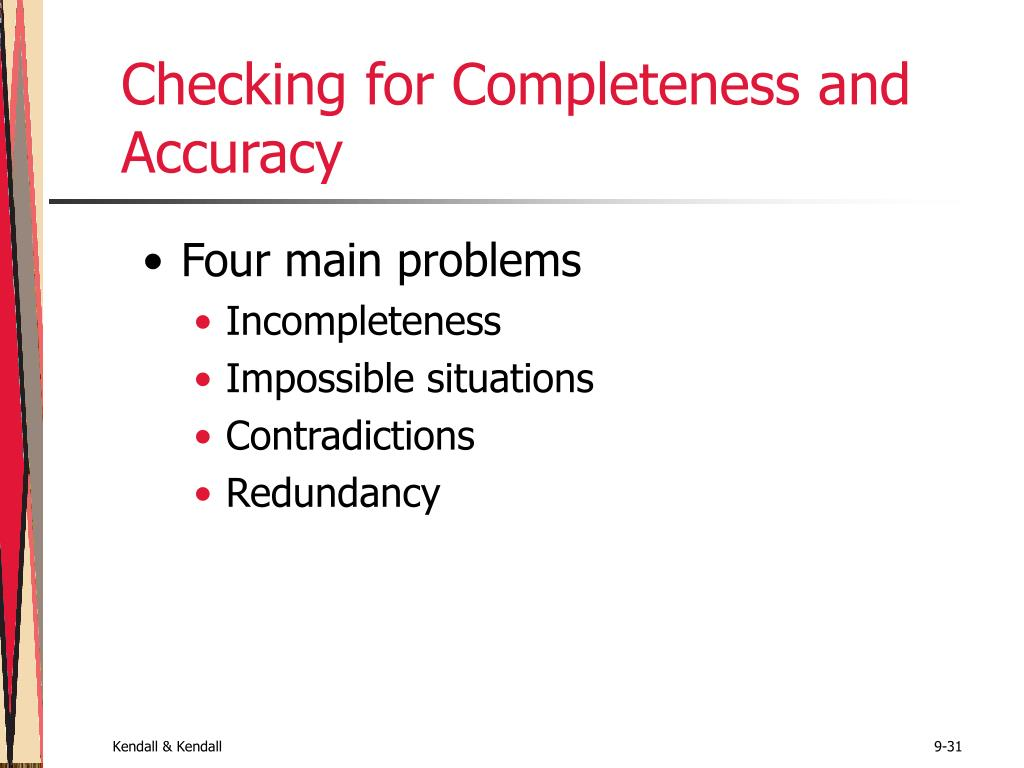 Checking for Completeness and Accuracy