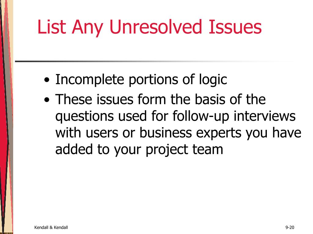 List Any Unresolved Issues