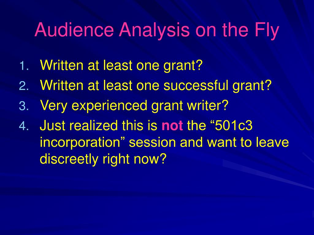Audience Analysis on the Fly