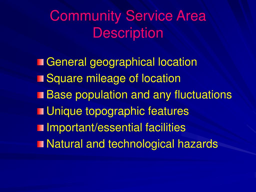 Community Service Area Description