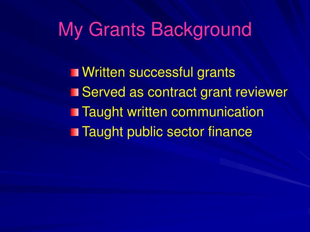 My Grants Background