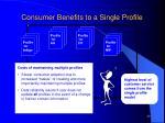 consumer benefits to a single profile