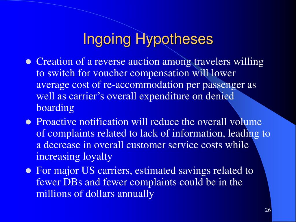 Ingoing Hypotheses