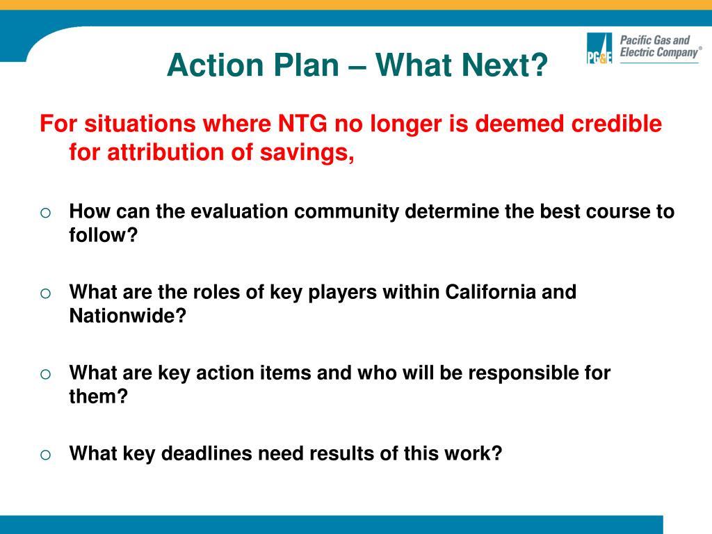 Action Plan – What Next?
