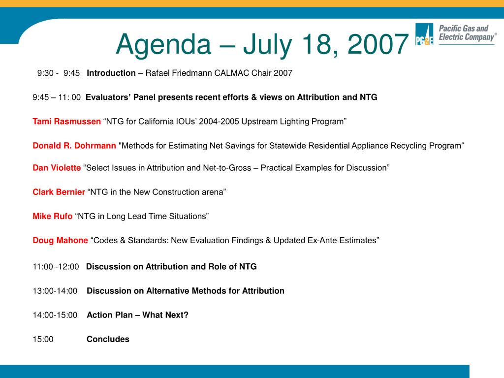 Agenda – July 18, 2007
