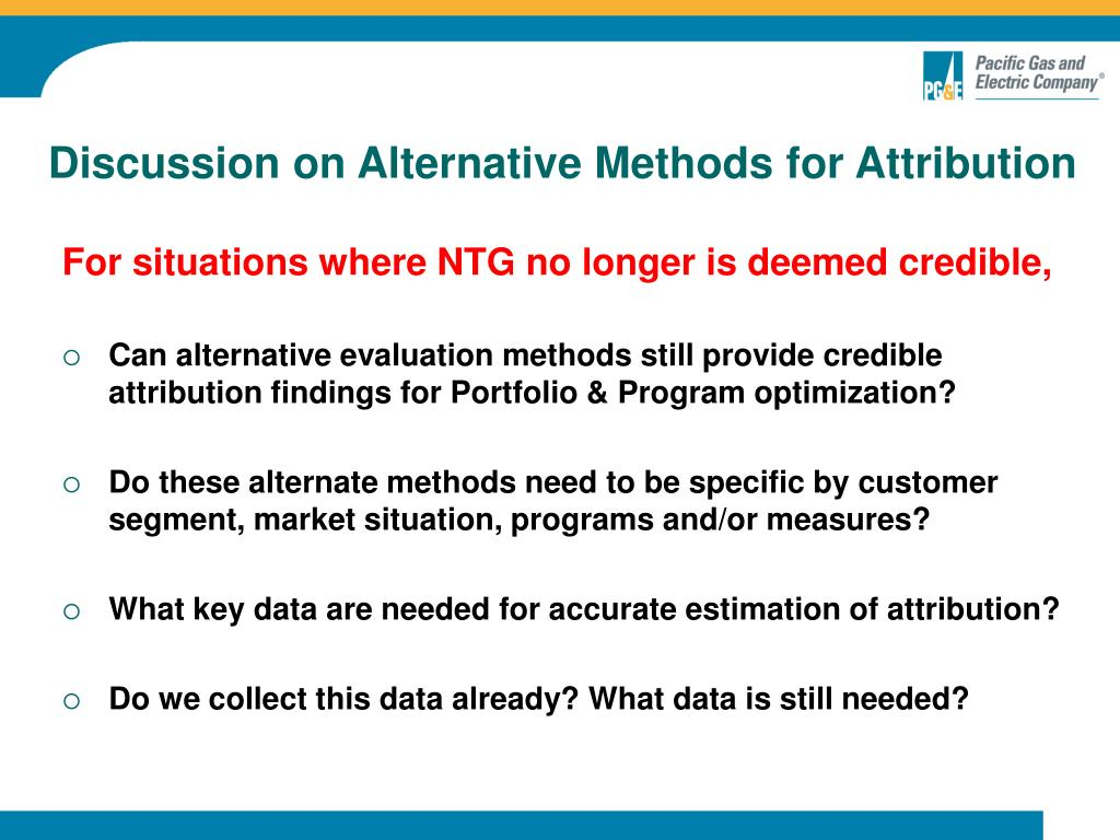 Discussion on Alternative Methods for Attribution