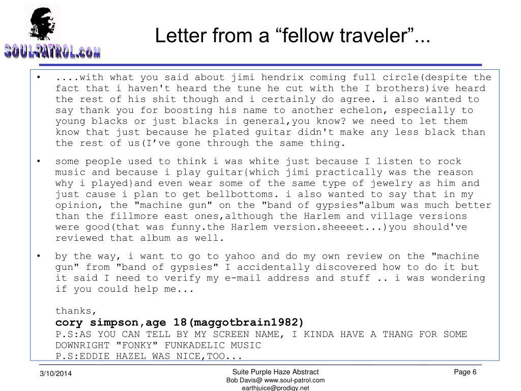 "Letter from a ""fellow traveler""..."