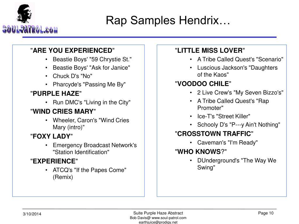 Rap Samples Hendrix…