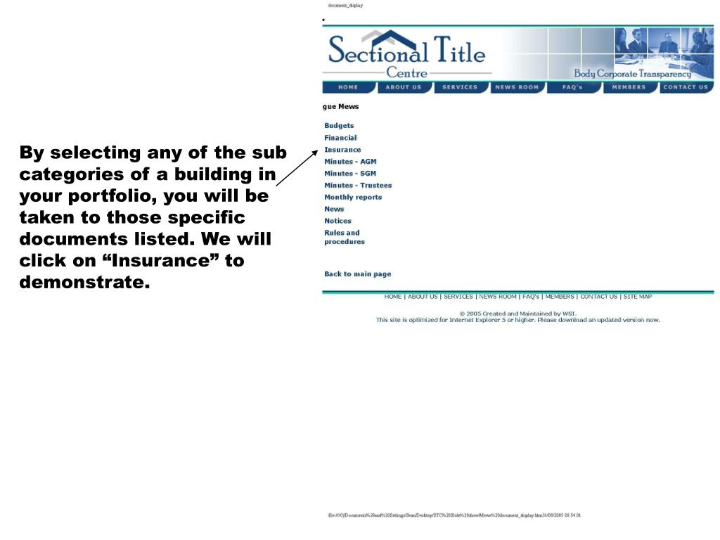 "By selecting any of the sub categories of a building in your portfolio, you will be taken to those specific documents listed. We will click on ""Insurance"" to demonstrate."