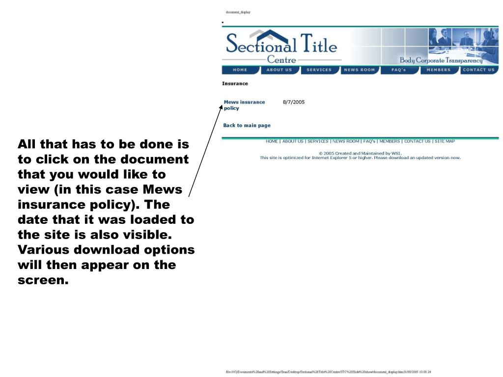 All that has to be done is to click on the document that you would like to view (in this case Mews insurance policy). The date that it was loaded to the site is also visible. Various download options will then appear on the screen.