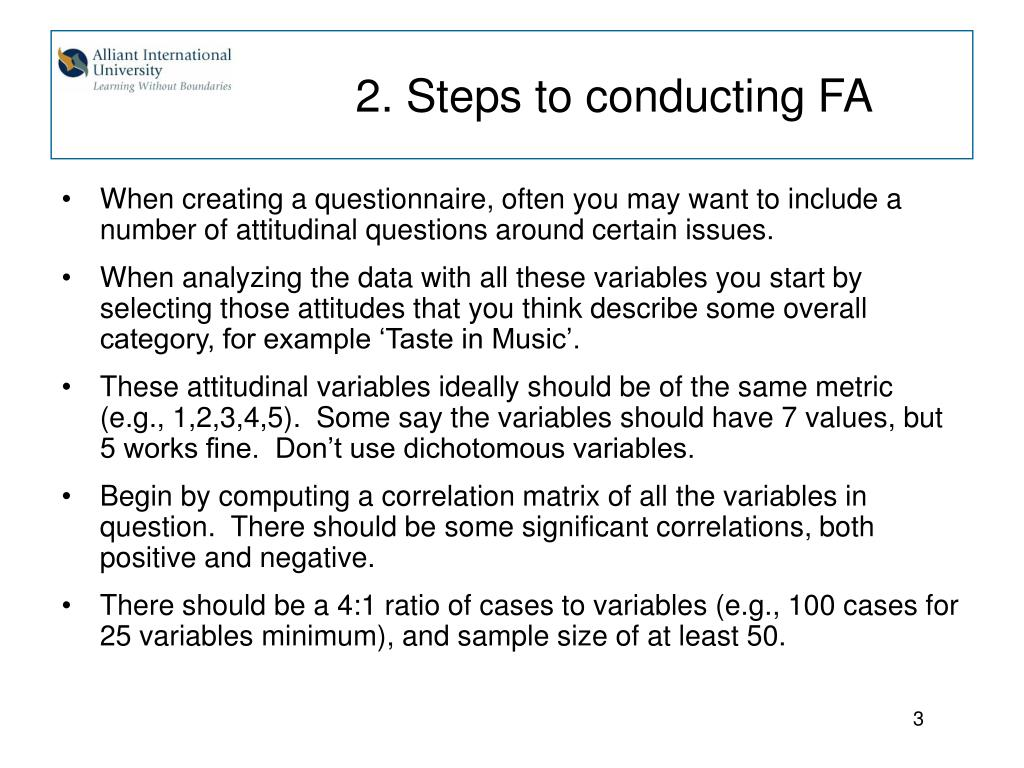 2. Steps to conducting FA