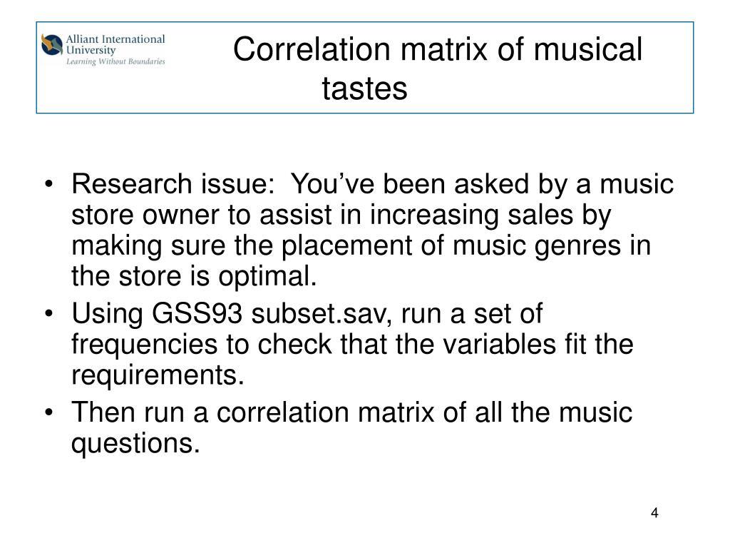 Correlation matrix of musical tastes