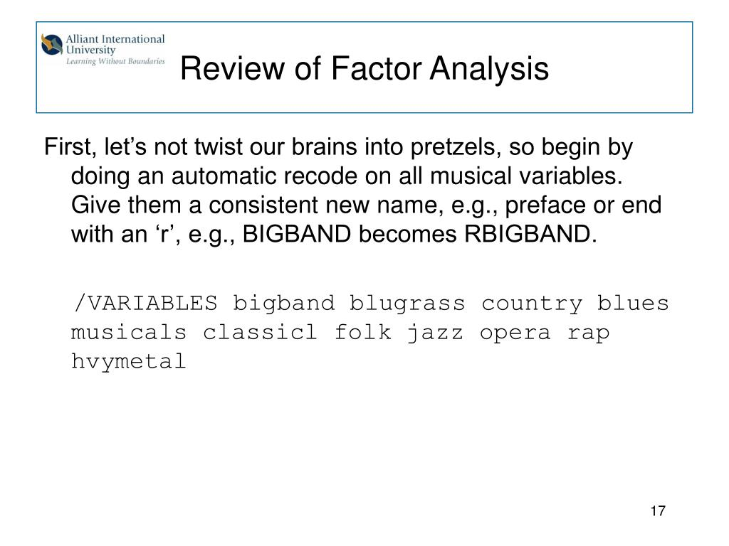 Review of Factor Analysis
