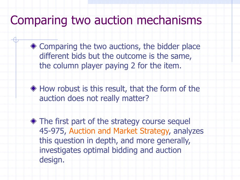 Comparing two auction mechanisms