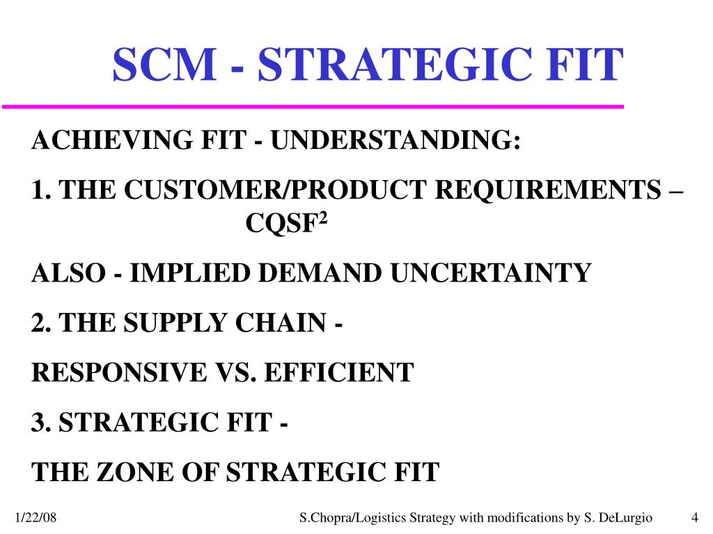 SCM - STRATEGIC FIT