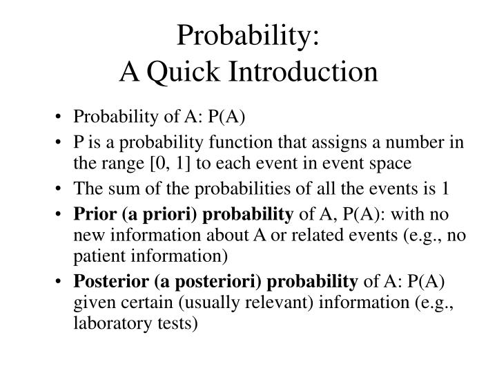 Probability a quick introduction