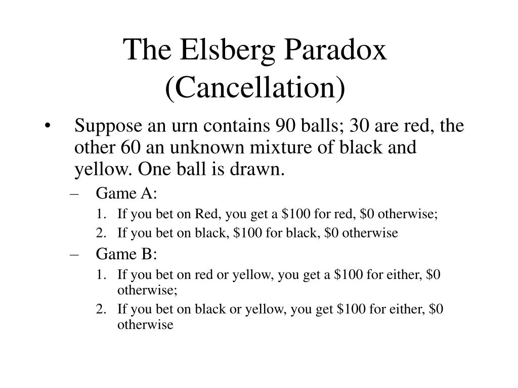 The Elsberg Paradox (Cancellation)