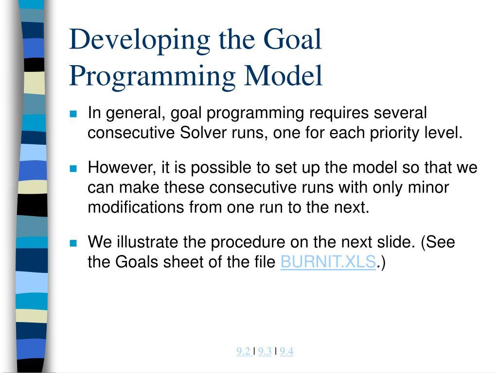 Developing the Goal Programming Model