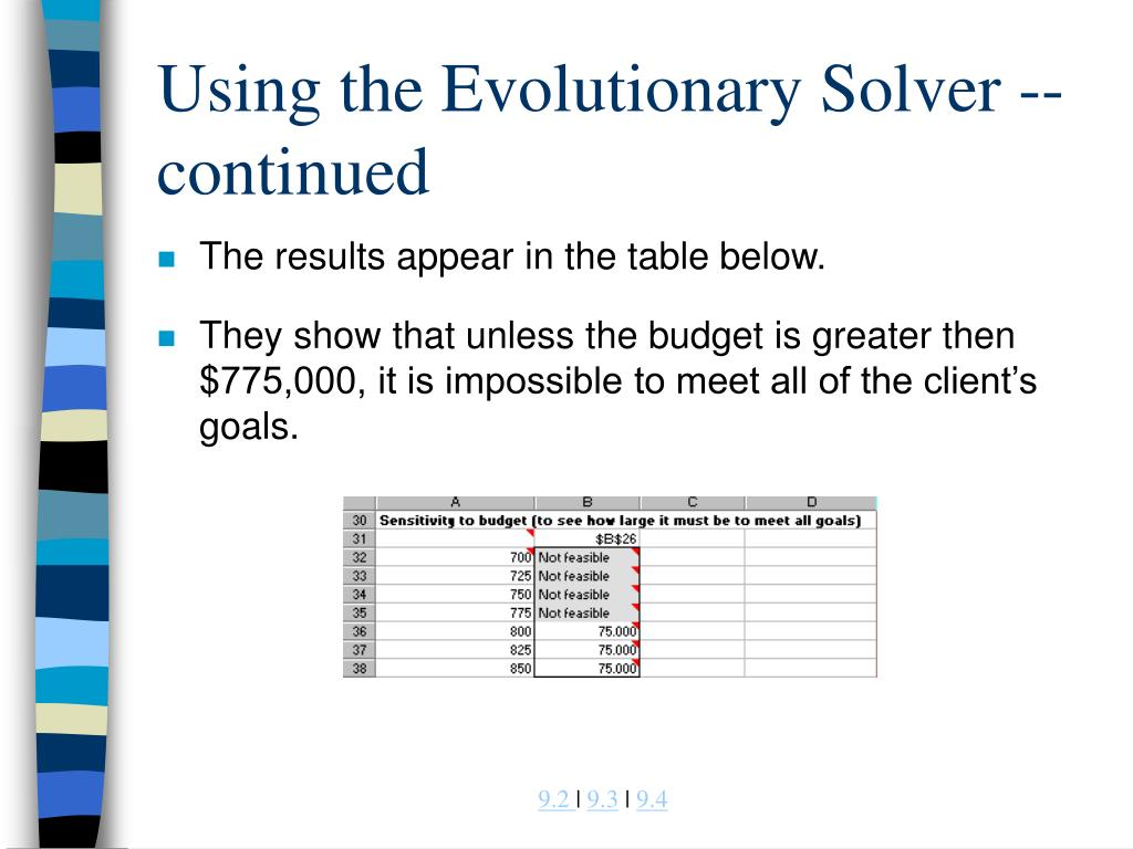 Using the Evolutionary Solver -- continued