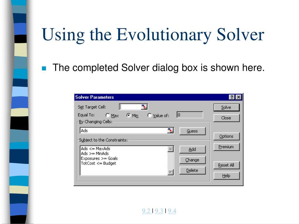 Using the Evolutionary Solver
