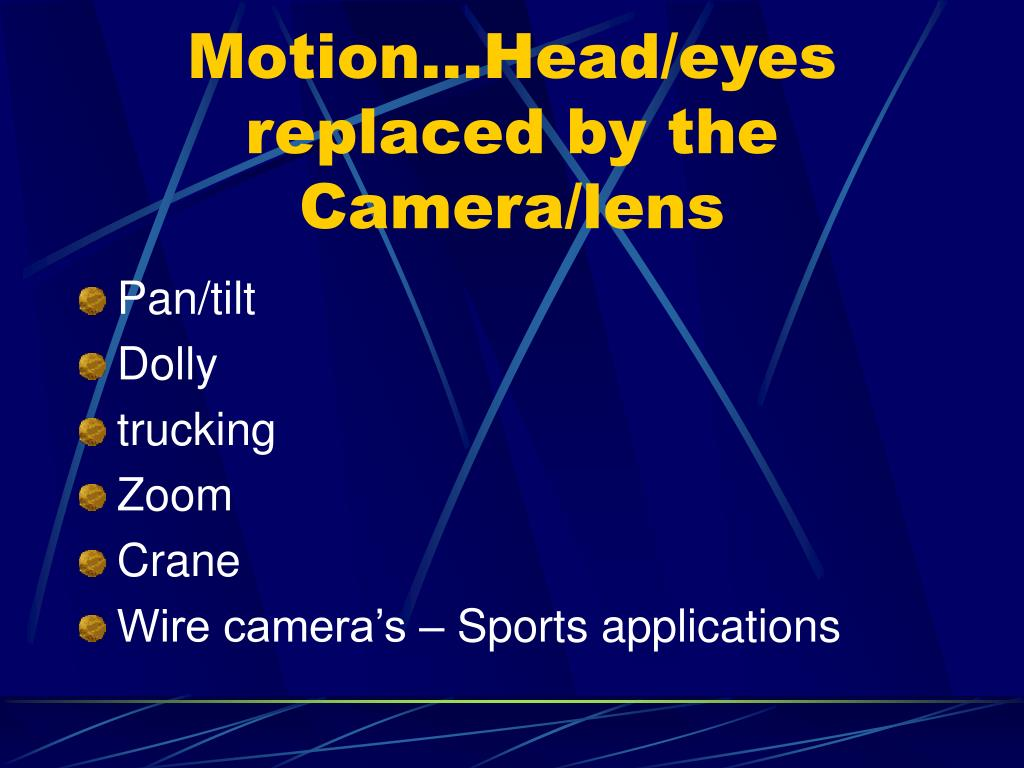 Motion…Head/eyes replaced by the Camera/lens