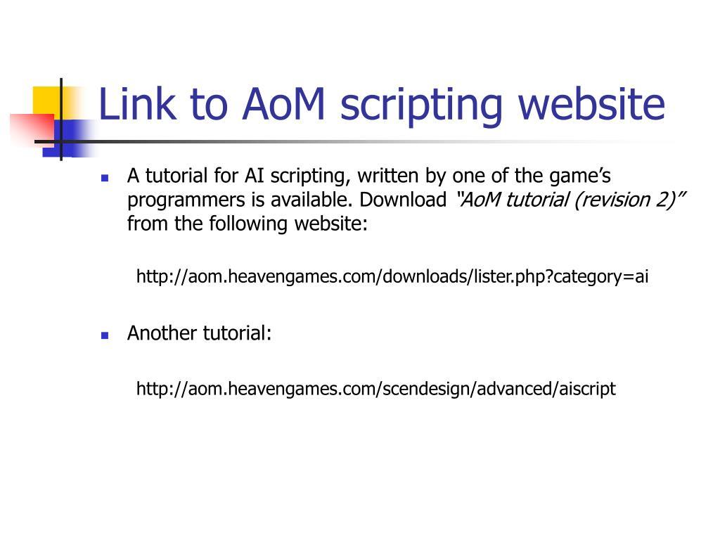 Link to AoM scripting website