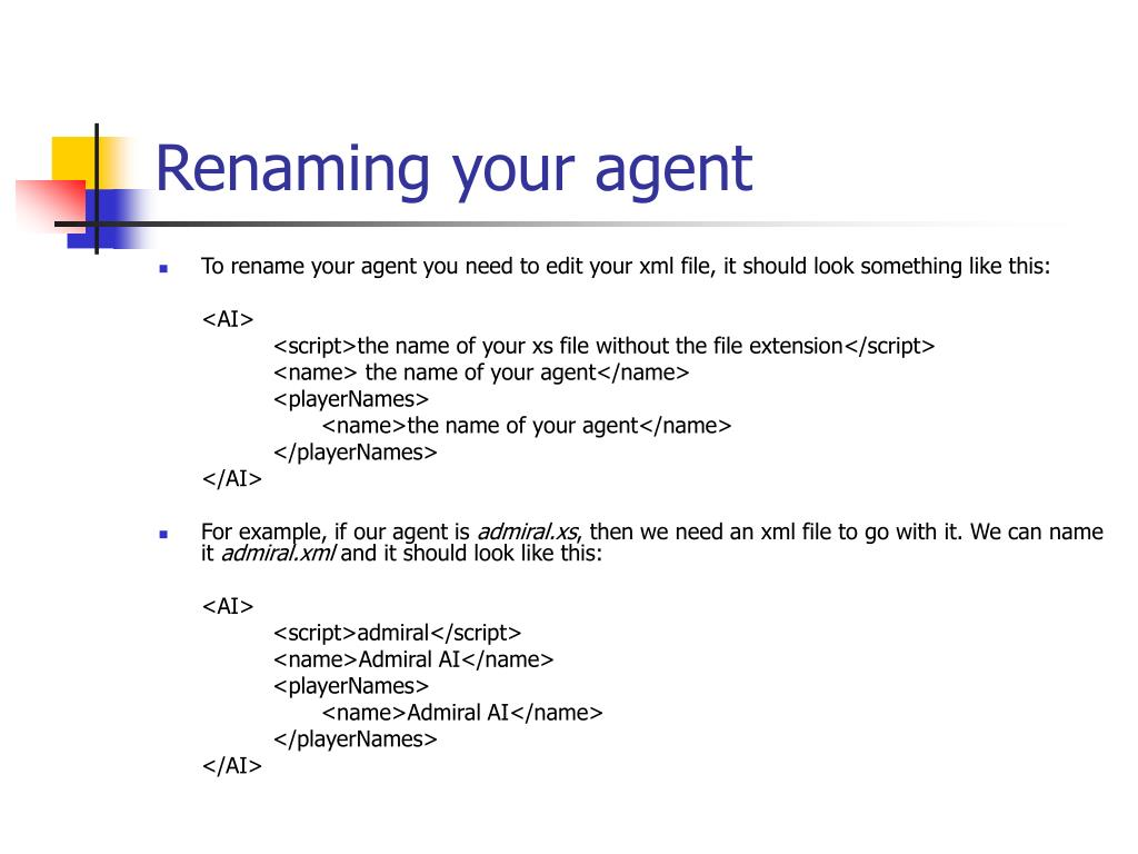 Renaming your agent