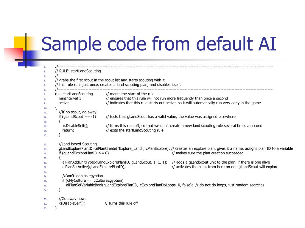 Sample code from default AI