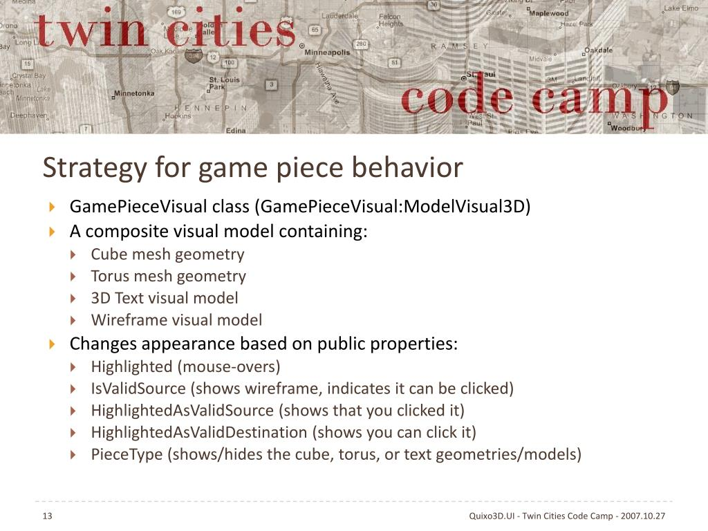 Strategy for game piece behavior