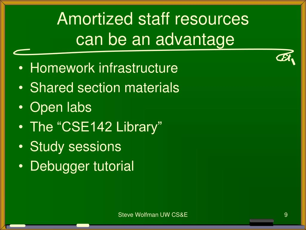 Amortized staff resources