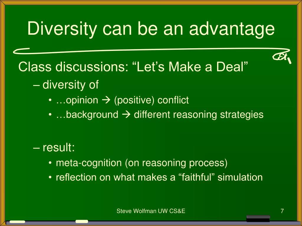 Diversity can be an advantage