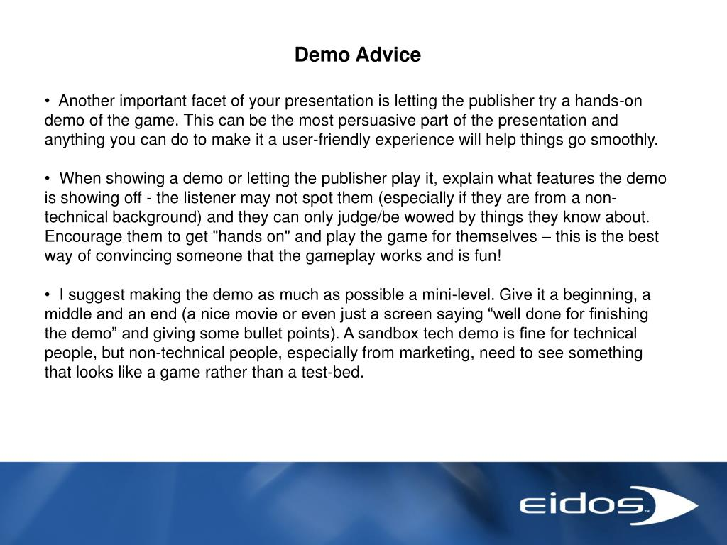 Demo Advice