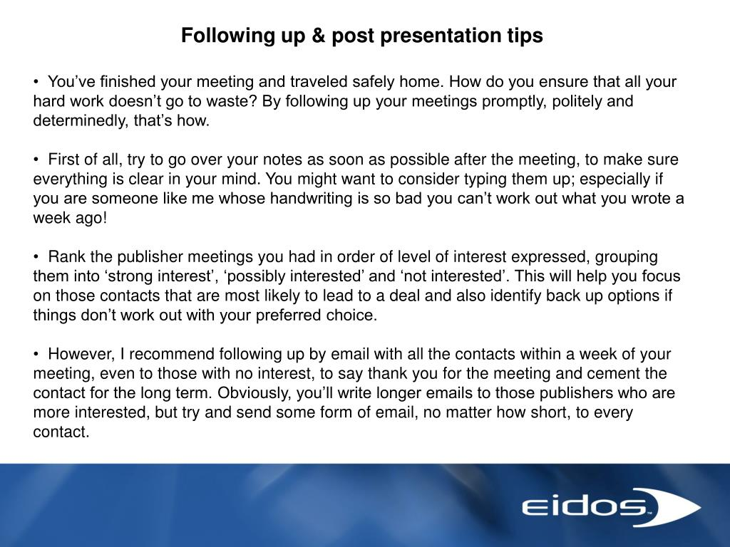 Following up & post presentation tips