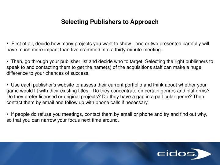 Selecting Publishers to Approach