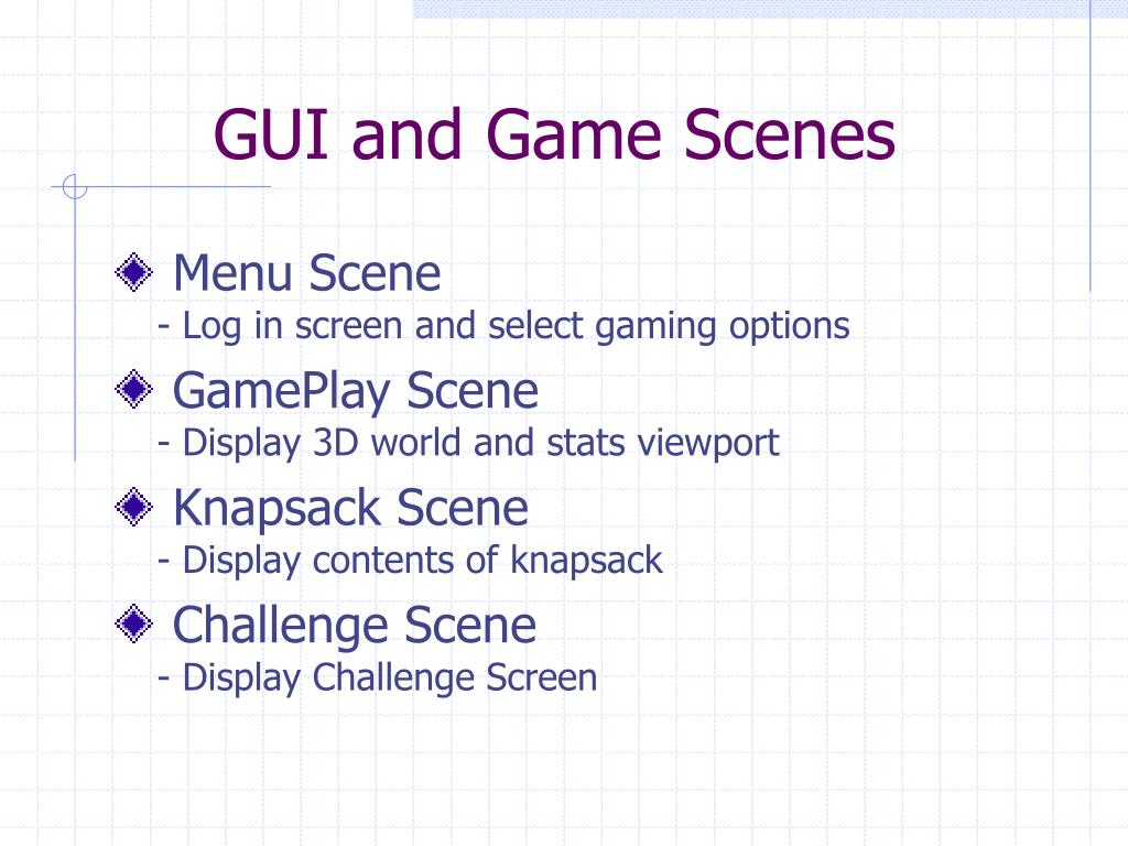 GUI and Game Scenes