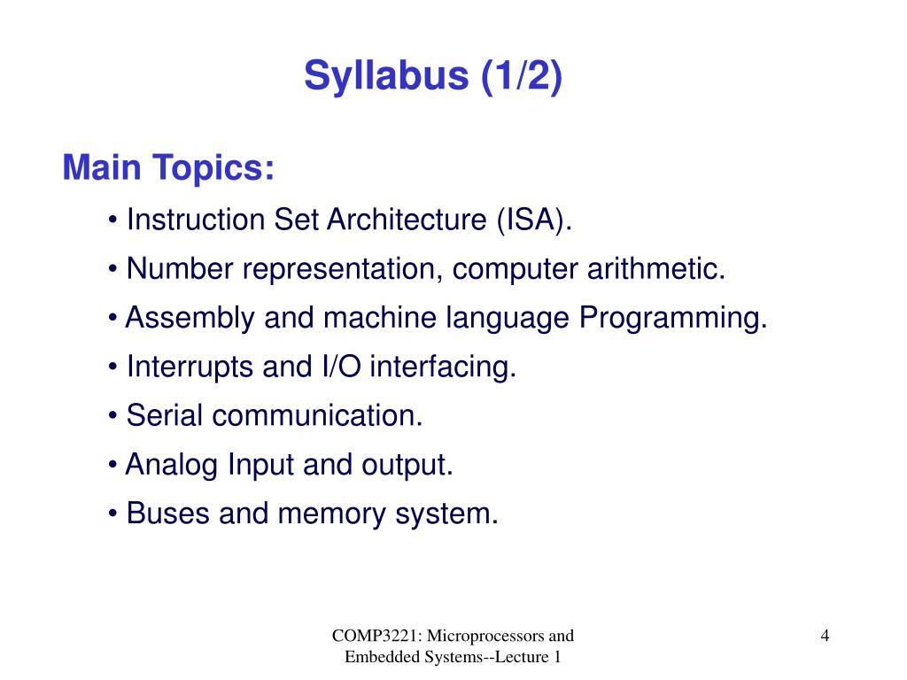 Syllabus (1/2)