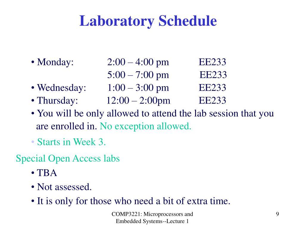 Laboratory Schedule