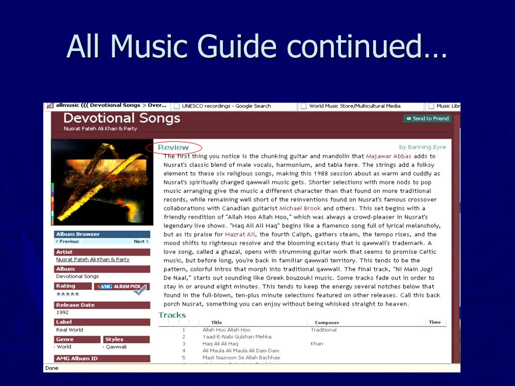 All Music Guide continued…