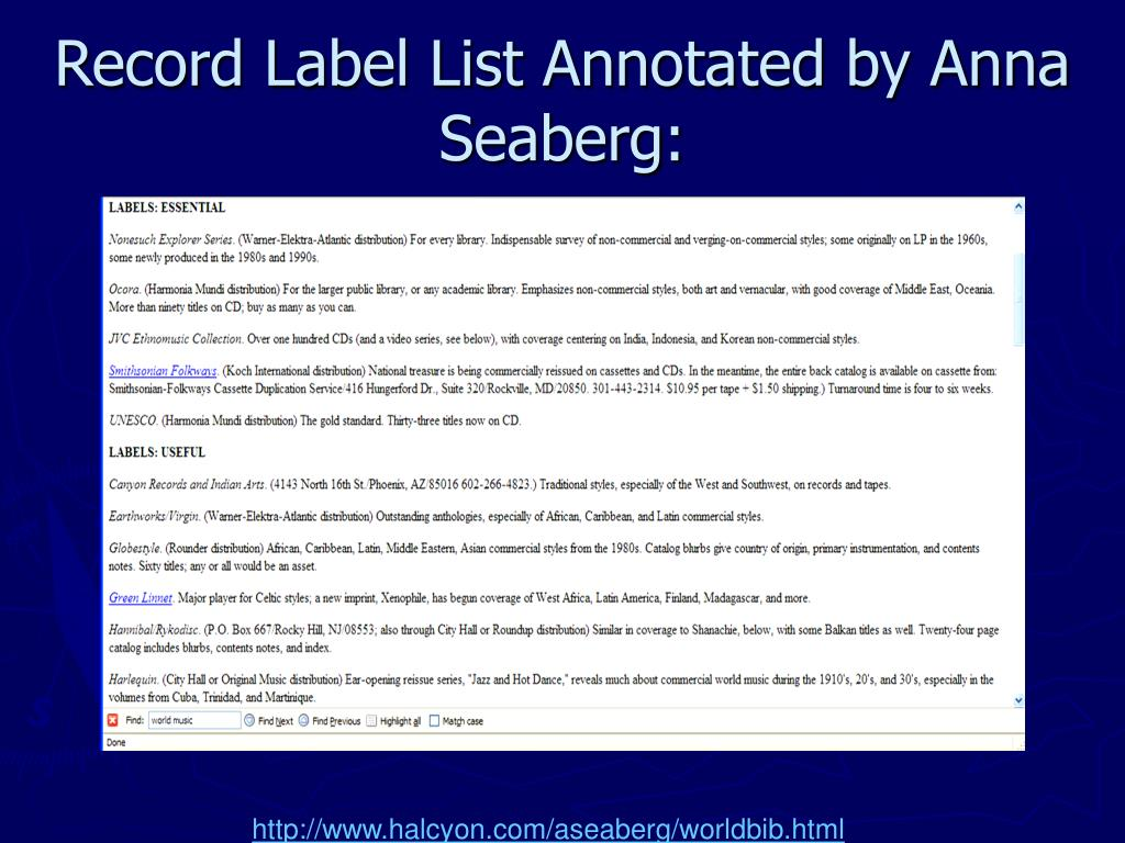 Record Label List Annotated by Anna Seaberg: