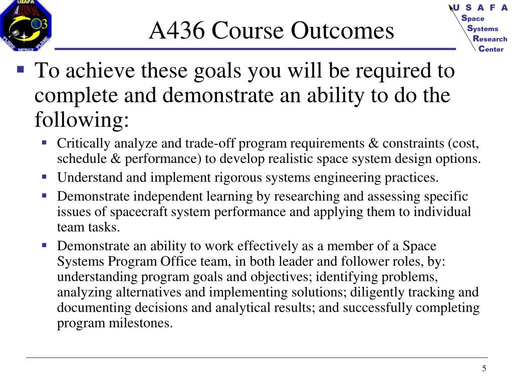 A436 Course Outcomes