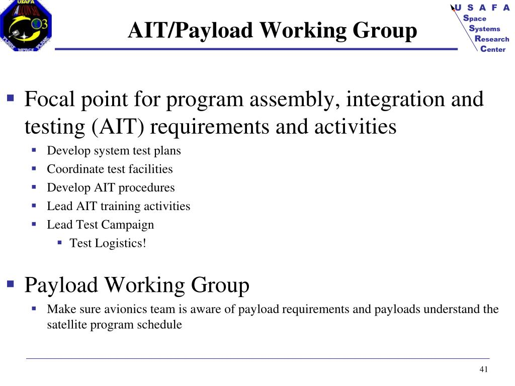 AIT/Payload Working Group