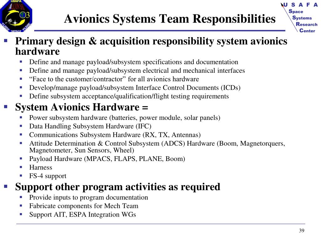 Avionics Systems Team Responsibilities