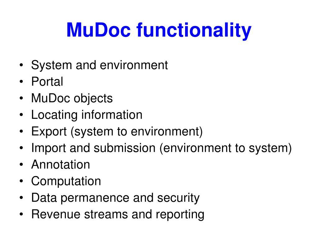 MuDoc functionality