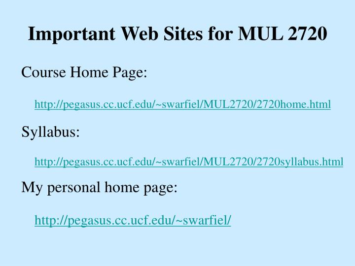 Important web sites for mul 2720