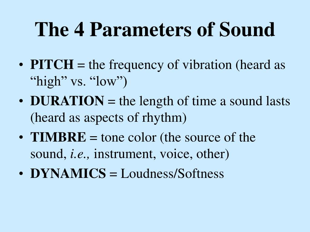 The 4 Parameters of Sound