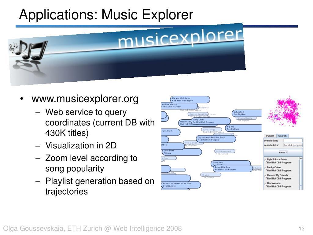 Applications: Music Explorer