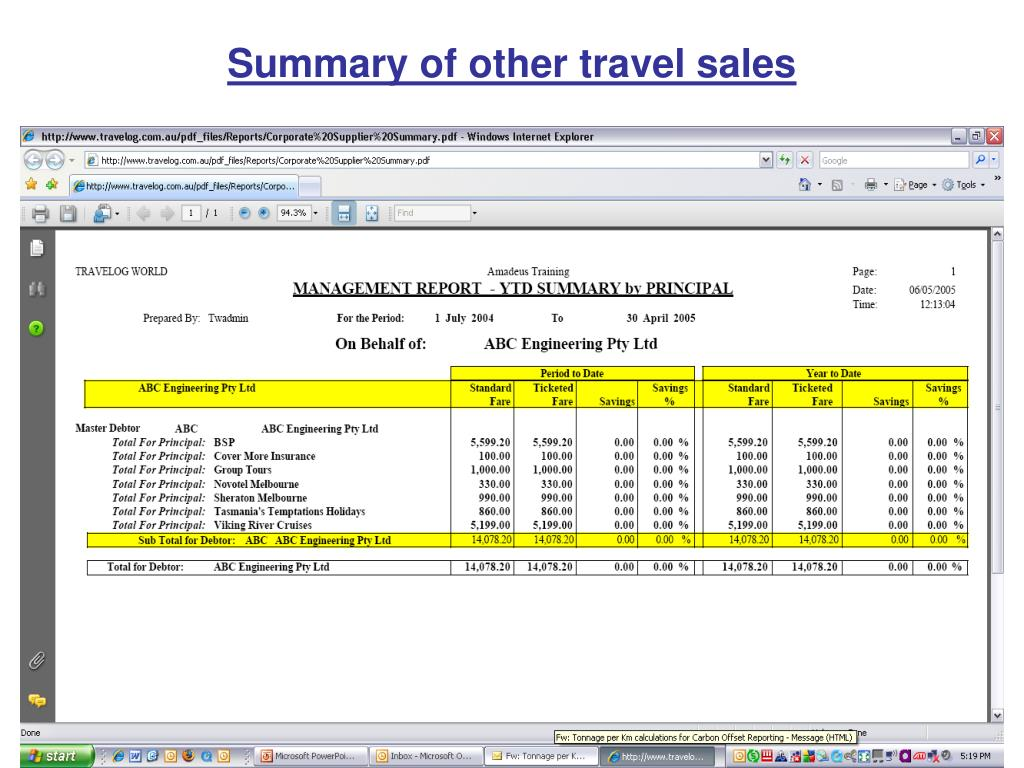 Summary of other travel sales