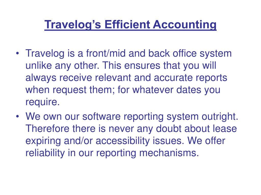 Travelog's Efficient Accounting